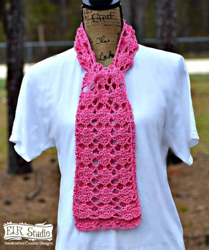 Easy How to Free Crochet Sweet Pink Spring Scarf Pattern
