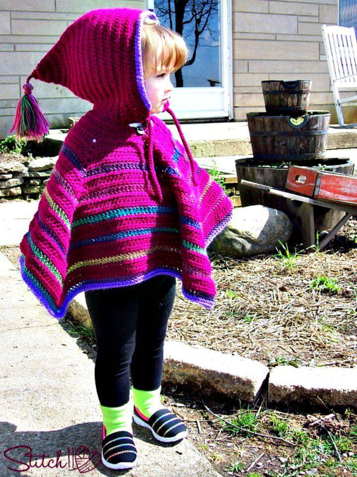 Free Crochet Toddler Hooded Poncho Pattern