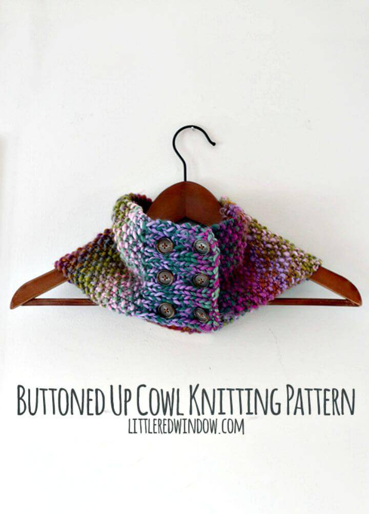 Easy Free Knitting Buttoned Up Cowl Pattern