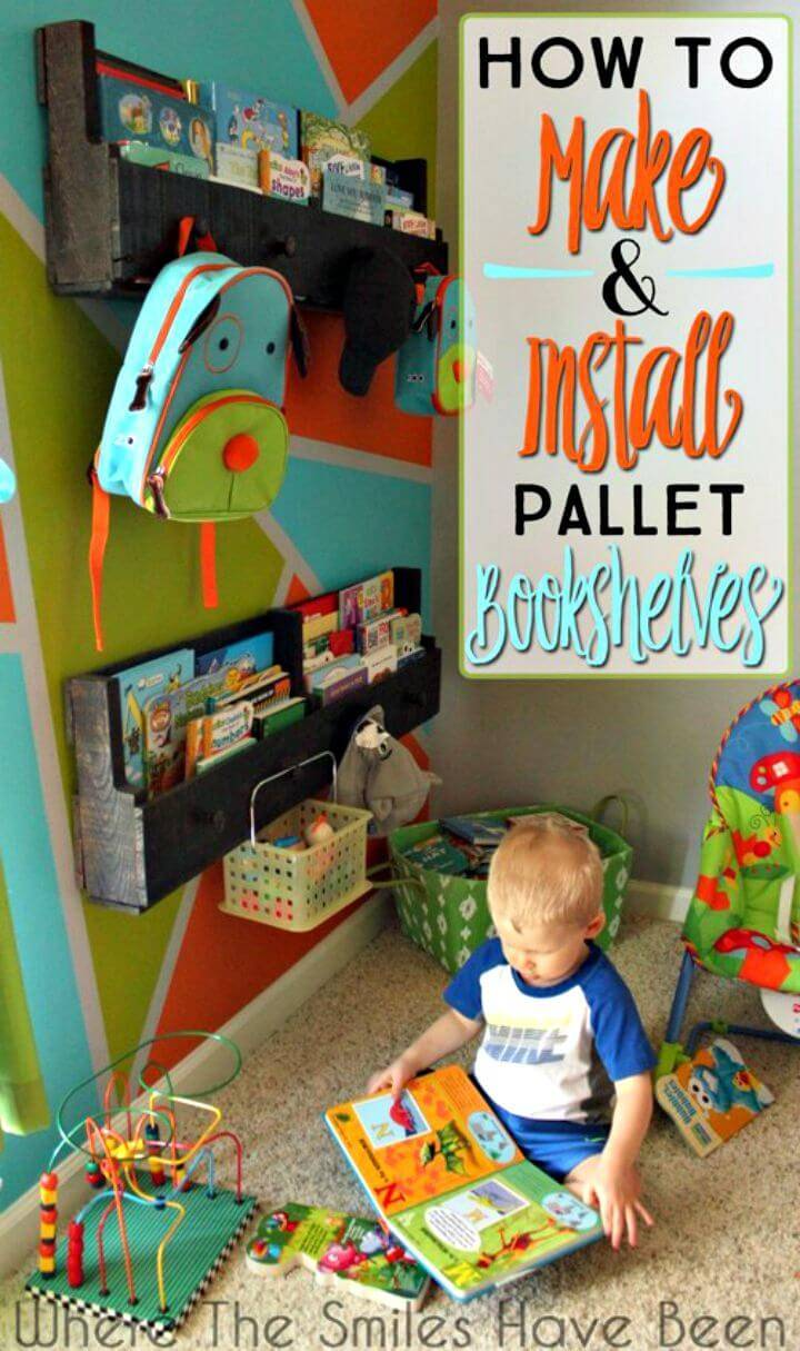 How to Make and Install Pallet Bookshelves with Knobs for Bonus Storage - DIY