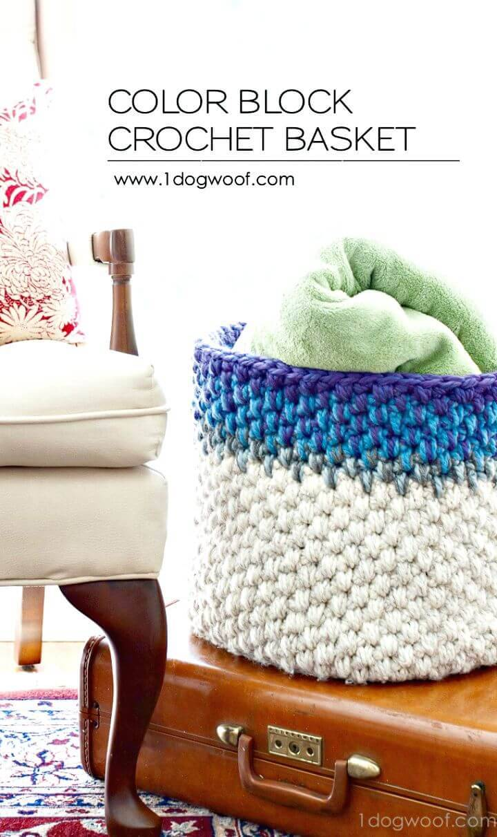 How To Free Color Block Crochet Basket Pattern