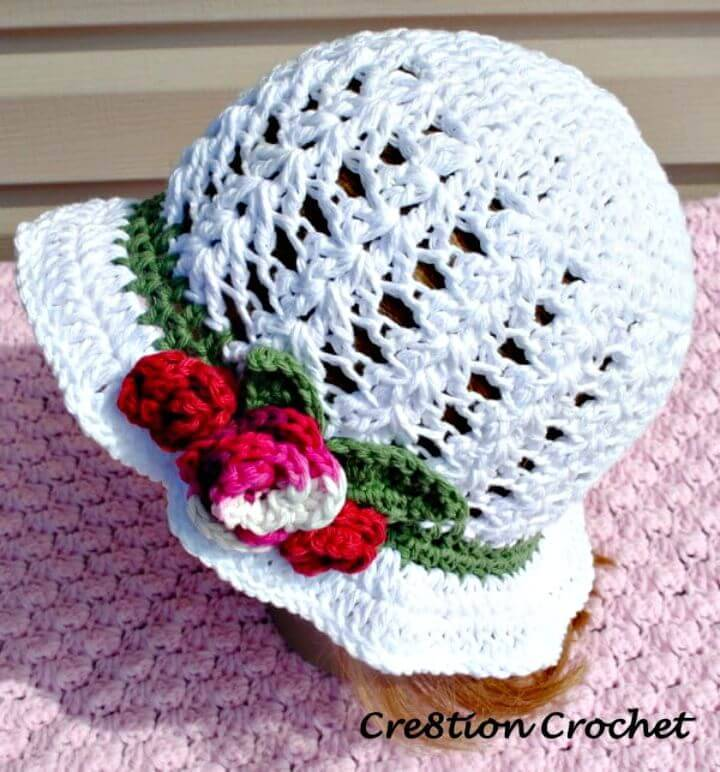 Easy Free Crochet Adult Spring or Easter Hat Shell Stitch Cotton Hat with Spring Blossoms Pattern