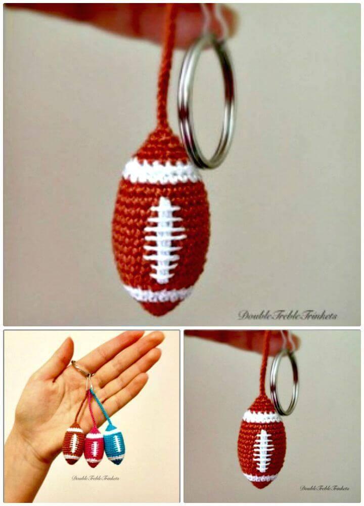 Easy Free Crochet American Football Keychain Pattern