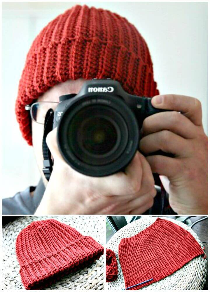 Free Crochet Beginner Ribbed Hat Men's Pattern