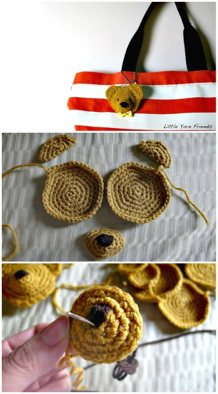 How To Easy Free Crochet Classic Teddy Keychain Pattern