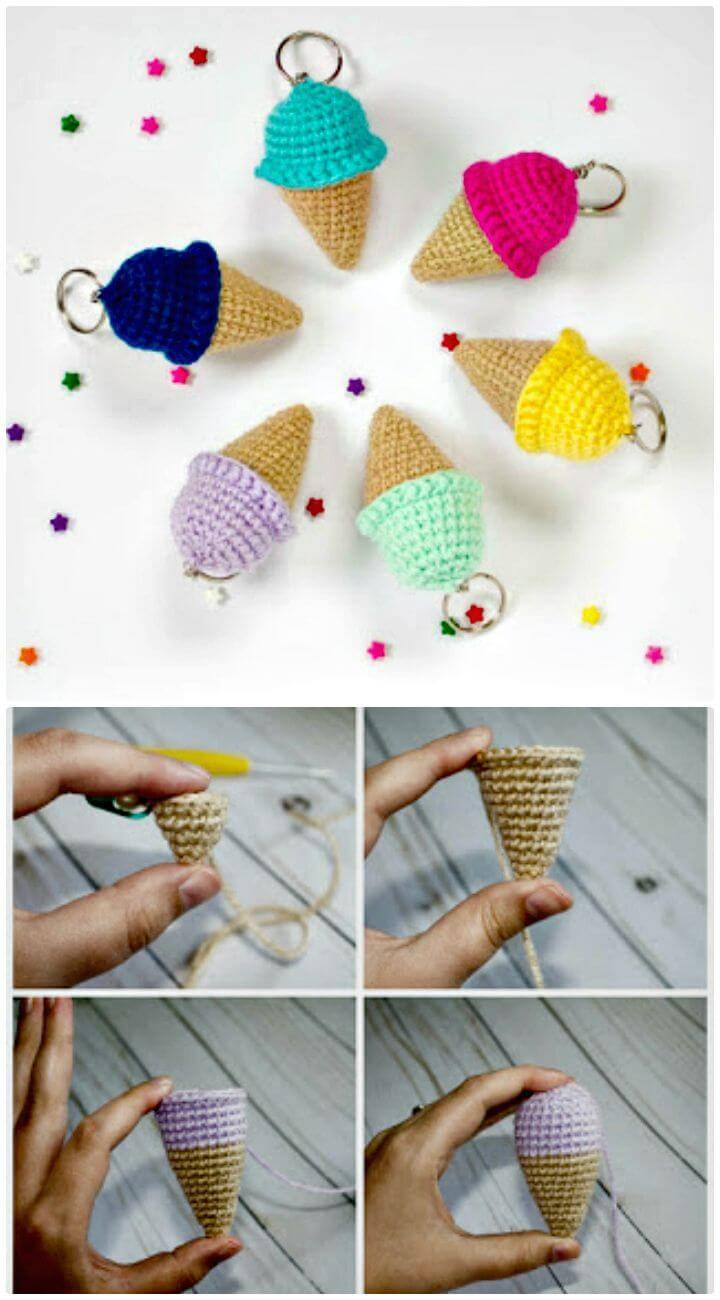 How to Crochet Ice Cream Keychain - Free Pattern