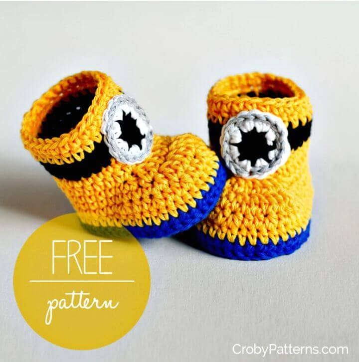 How To Easy Free Crochet Minion Inspired Baby Booties Pattern