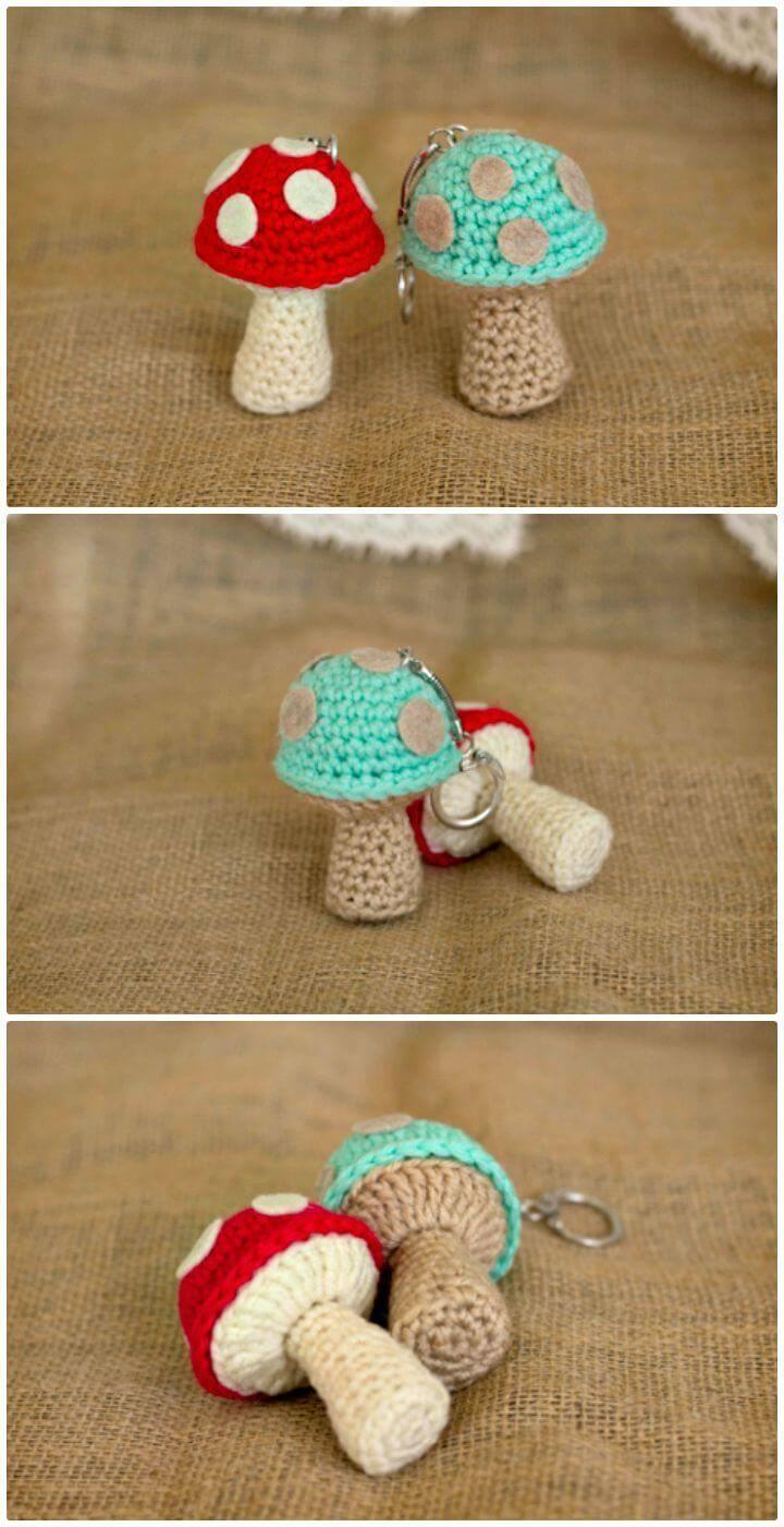 Easy Free Crochet Mushroom Keychain Pattern