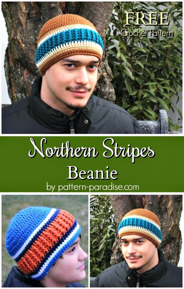 Easy Free Crochet Northern Stripes Beanie Pattern