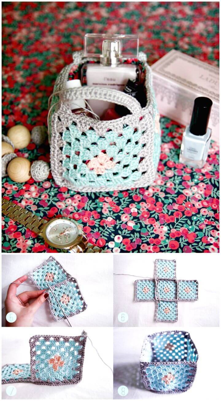 Easy Free Crochet Mini Granny Square Baskets Pattern
