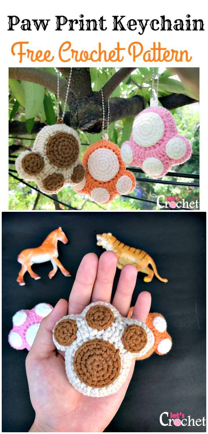 Free Crochet Paw Print Key-chain Pattern