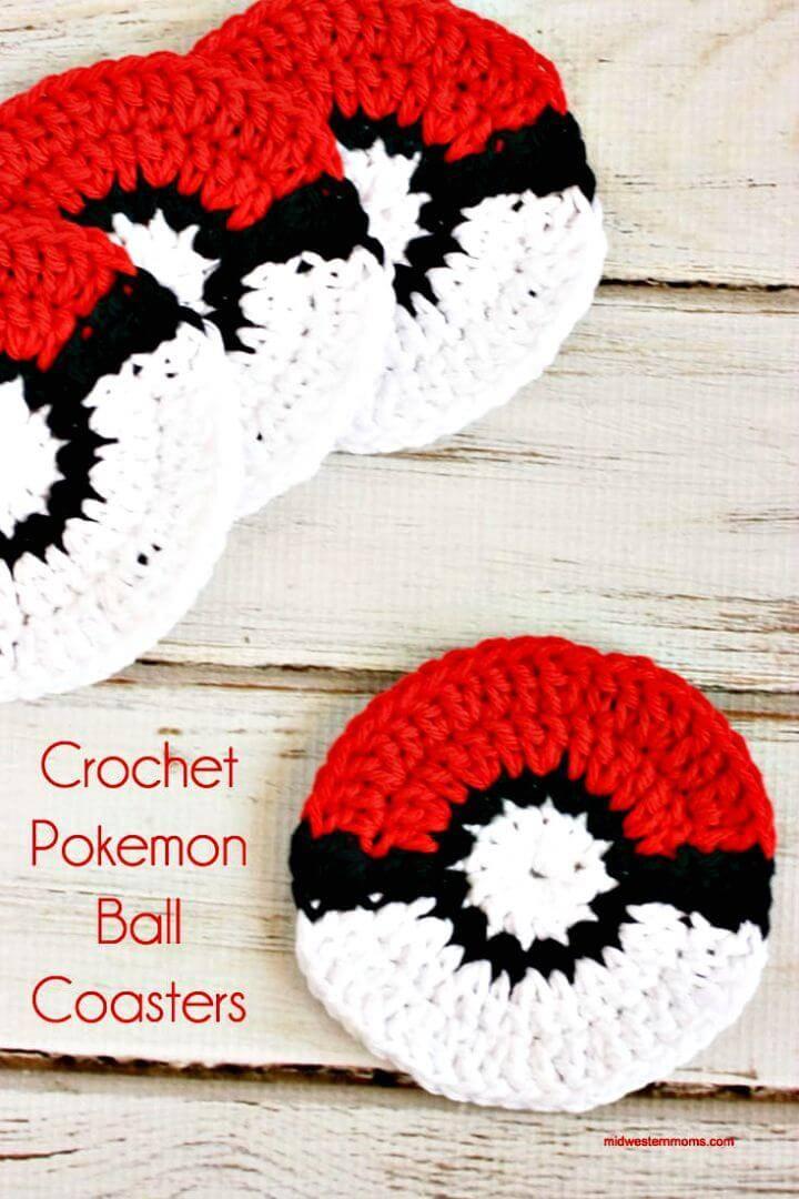 Easy Free Crochet Pokemon Ball Coaster Pattern