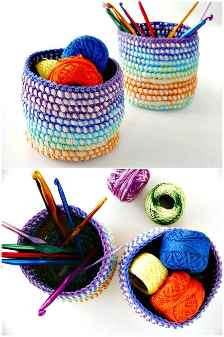 Easy Free Crochet Rainbow Basket Pattern