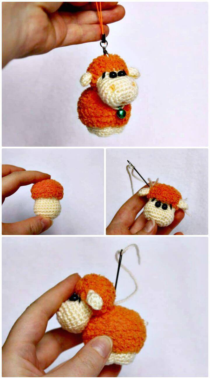 Easy Free Crochet Sheep Keychain Pattern