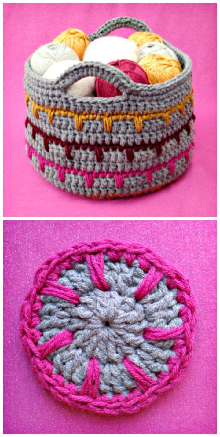 How To Free Crochet Spikes Yarn Basket Pattern