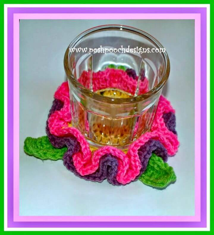 Easy Free Crochet Spring Flower Coaster Pattern