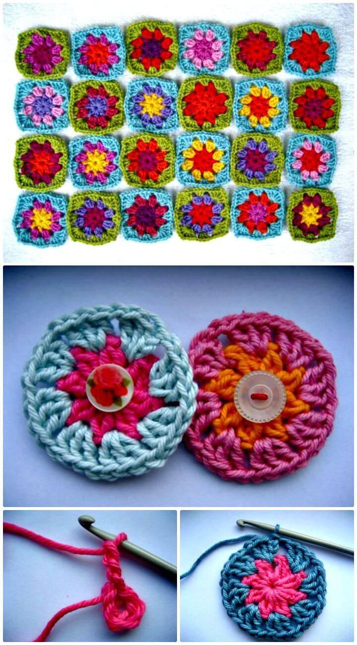 Easy Free Crochet Boho Summer Garden Granny Square Pattern