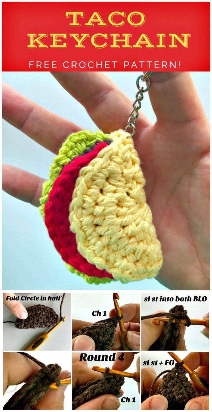 How To Free Crochet Taco Keychain Pattern