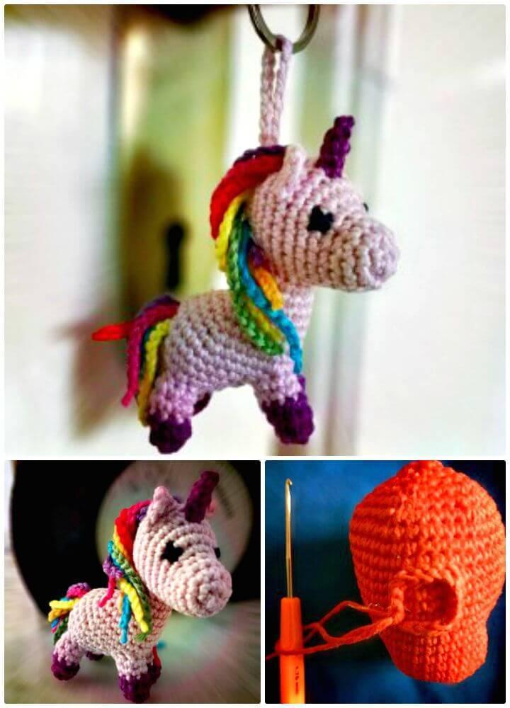 Free Crochet Unicorn Keychain Pattern