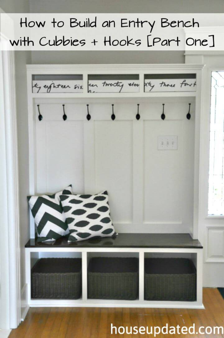 How To Build An Entry Bench With Cubbies And Hooks Tutorial