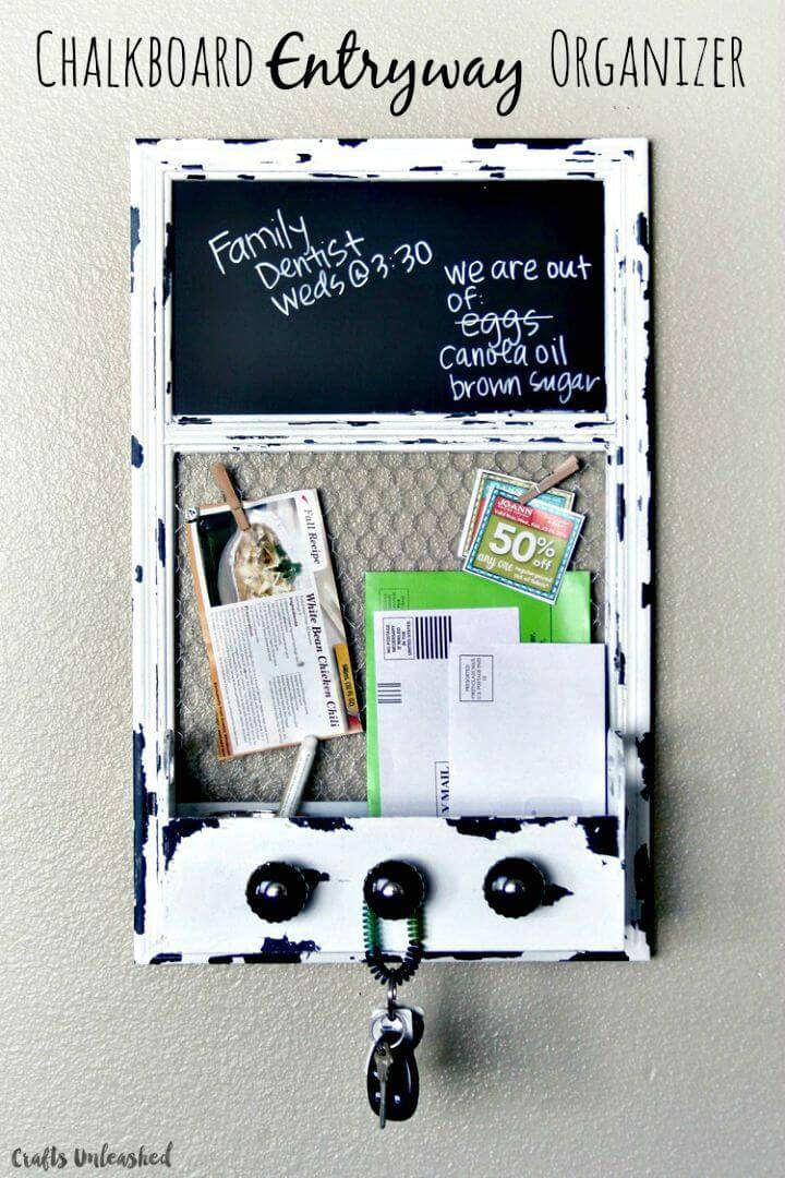 How To Build Chalkboard Entryway Organizer Tutorial