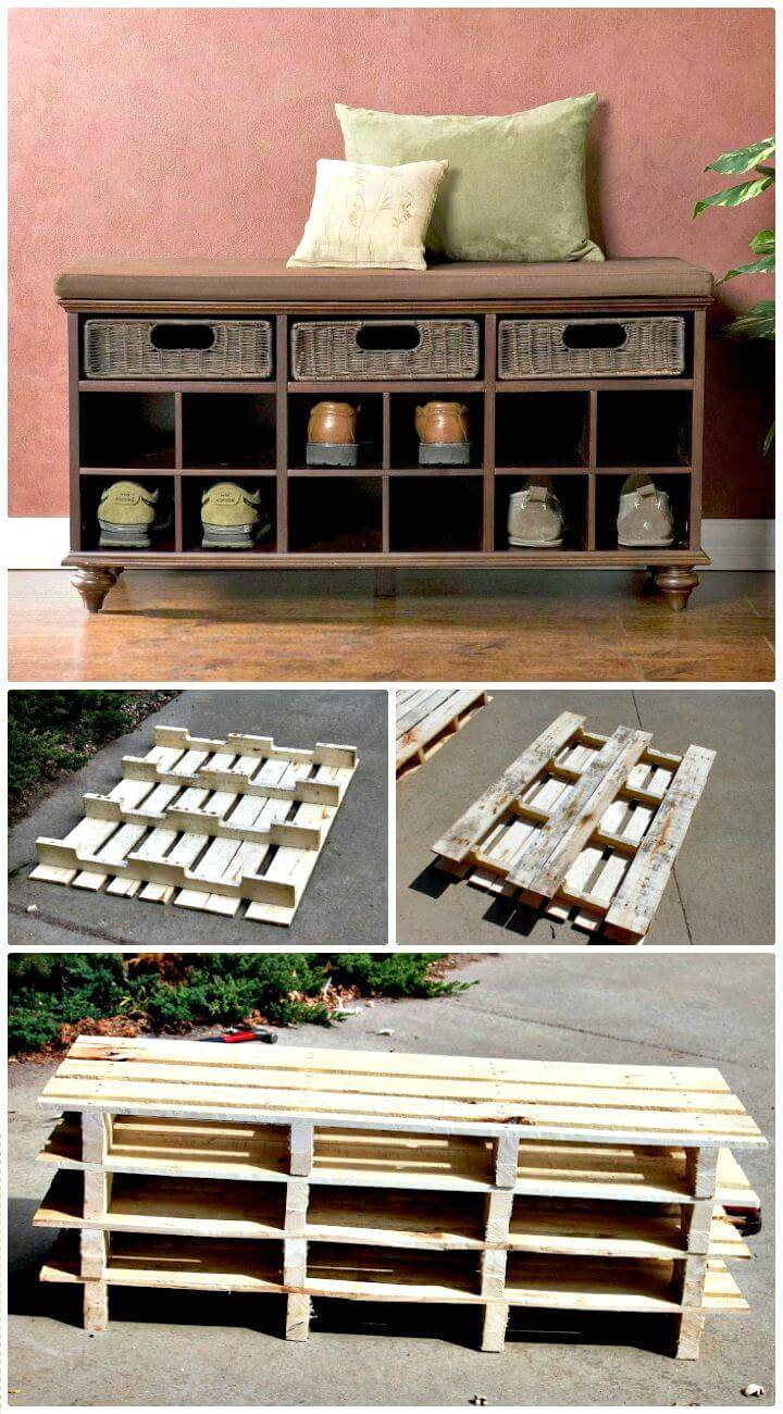 How To Build Pallet Shoe Storage Entryway Bench Tutorial