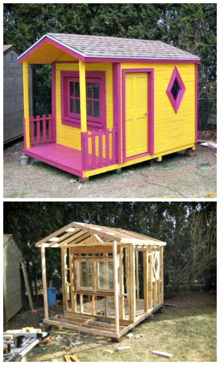 Easy to Build Your Own Pallet Playhouse Tutorial
