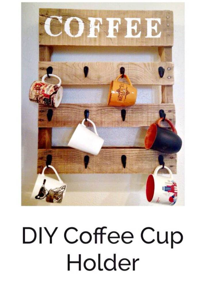 Easy How To DIY Pallet Coffee Cup Holder Tutorial