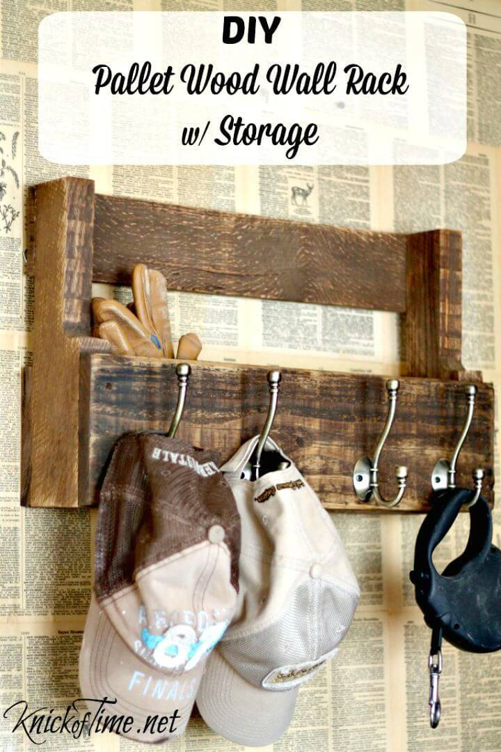 Easy DIY Pallet Wood Wall Rack Tutorial