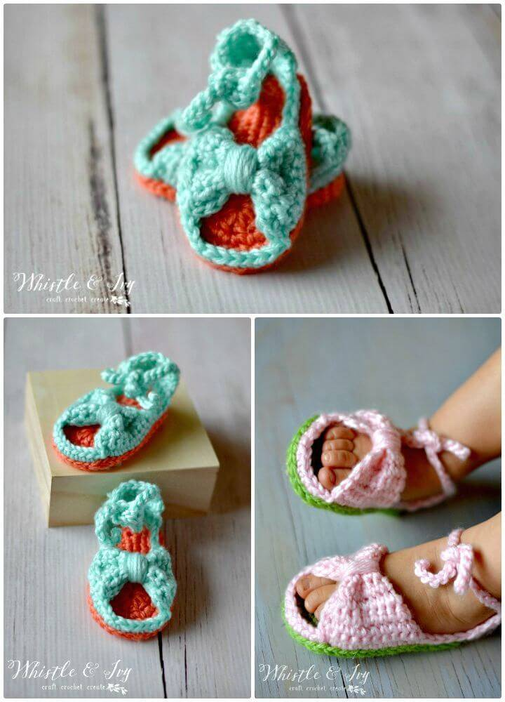 Easy How To Free Crochet Bitty Bow Baby Sandals For Spring Pattern