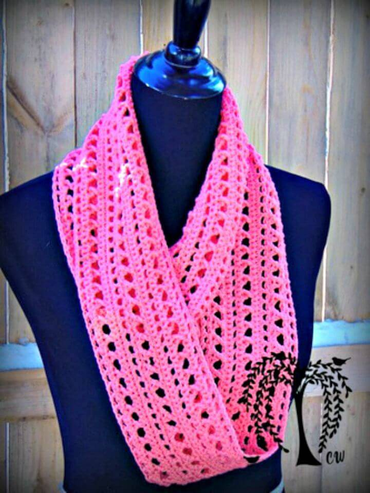 How To Free Crochet Spring Kisses Infinity Scarf Pattern