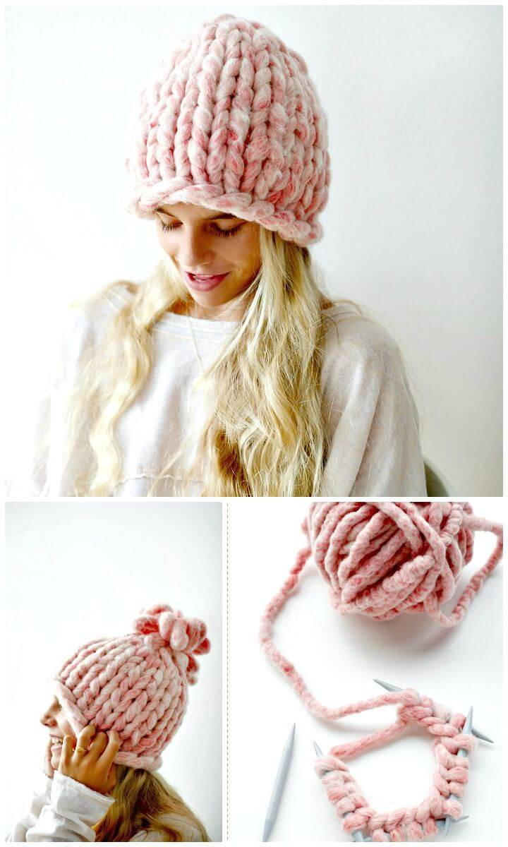 How To Free Knit Big Loop Hat