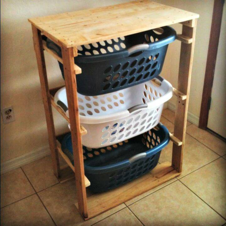 Easy How To Make Pallet Laundry Basket Dresser - DIY