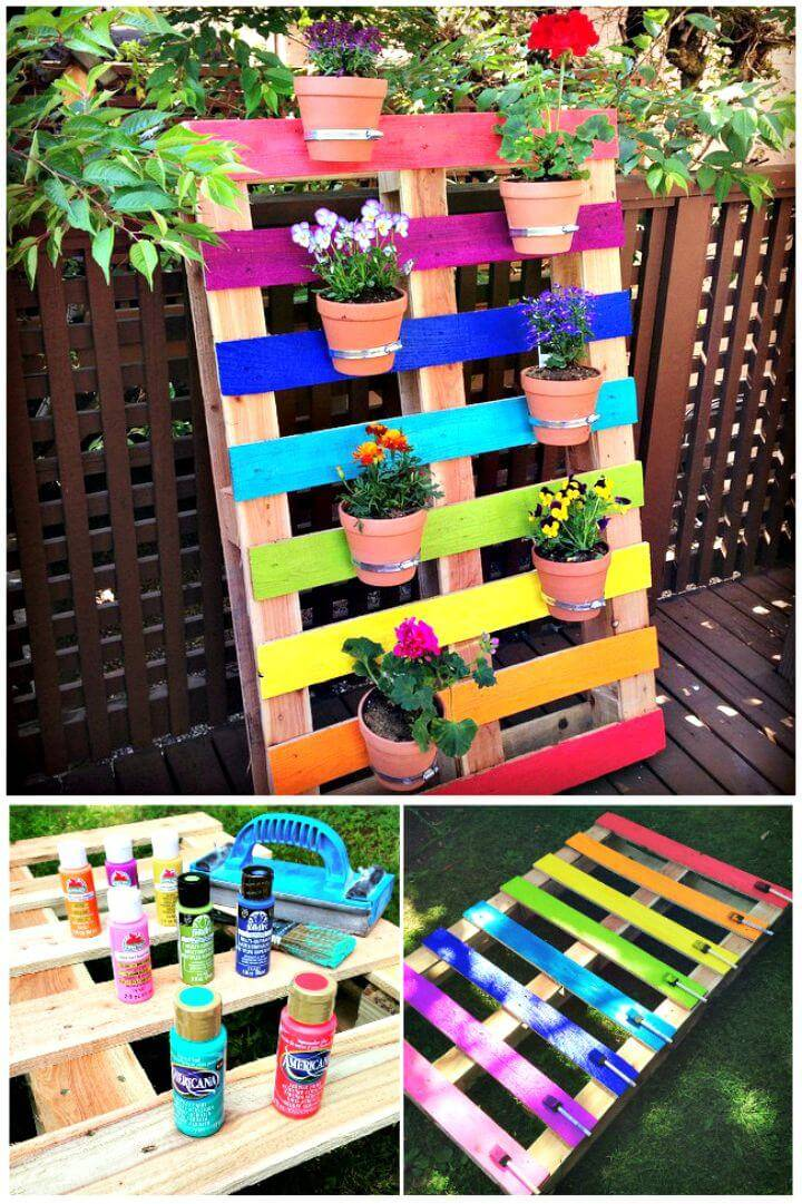 Easy How To Make Rainbow Pallet Flower Garden Planter Tutorial