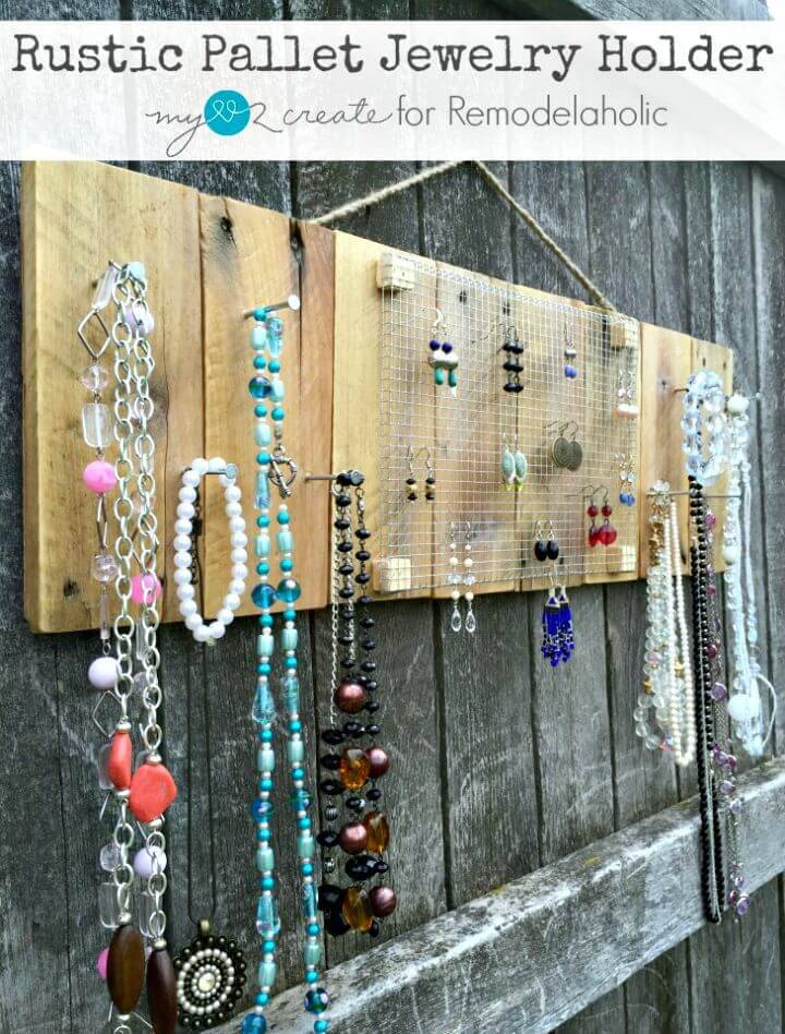Easy How To Make Rustic Pallet Jewelry Holder - DIY