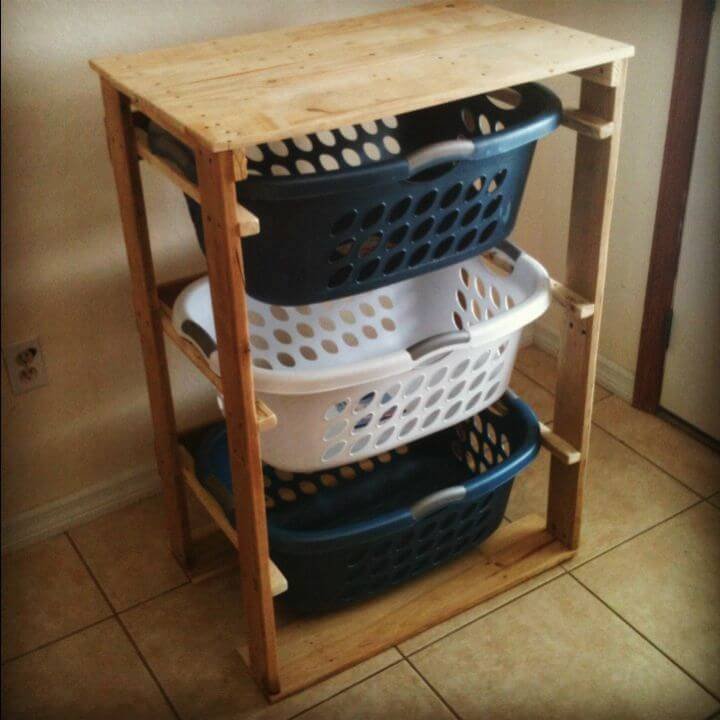 Easy How To Make a Pallirondack Laundry Basket Dresser Out Of Pallets - DIY