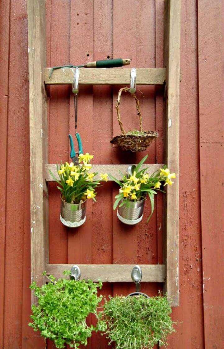 Easy How To Reusing An Old Ladder Into Planter Tutorial