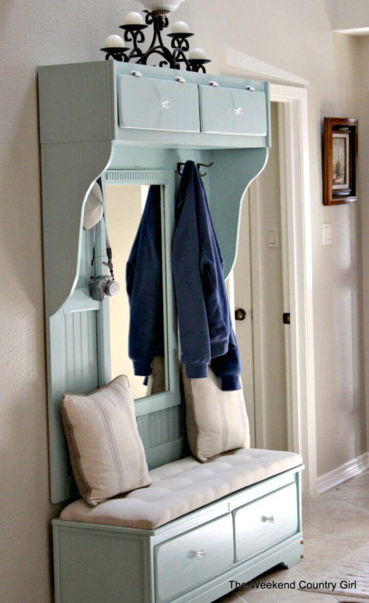 How To Turn Dresser into Mudroom Entryway Bench Tutorial