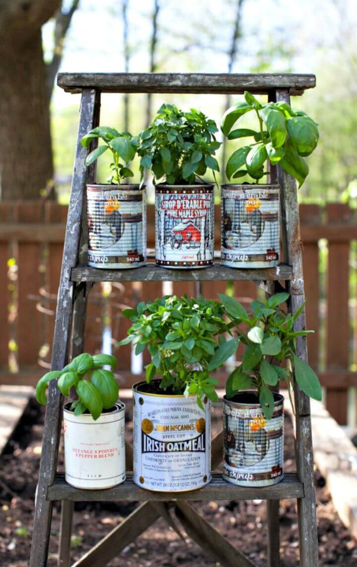 Easy How To Up-cycled Wooden Ladder Garden Display
