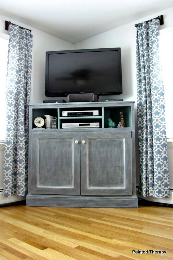 Easy How to Build Your Own Tall Corner Media or TV Console Stand Tutorial