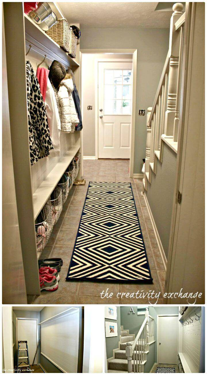 Easy How to Build a Narrow Entryway Mudroom Idea