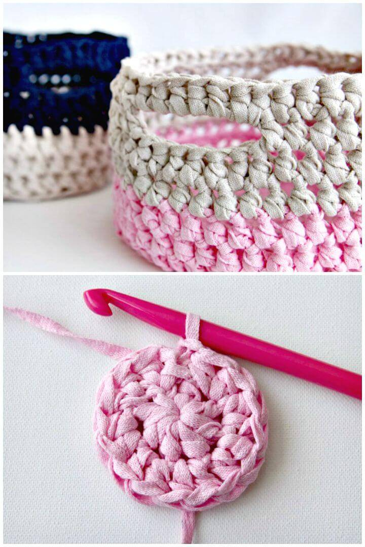 Easy Free Crochet Pink Basket Pattern