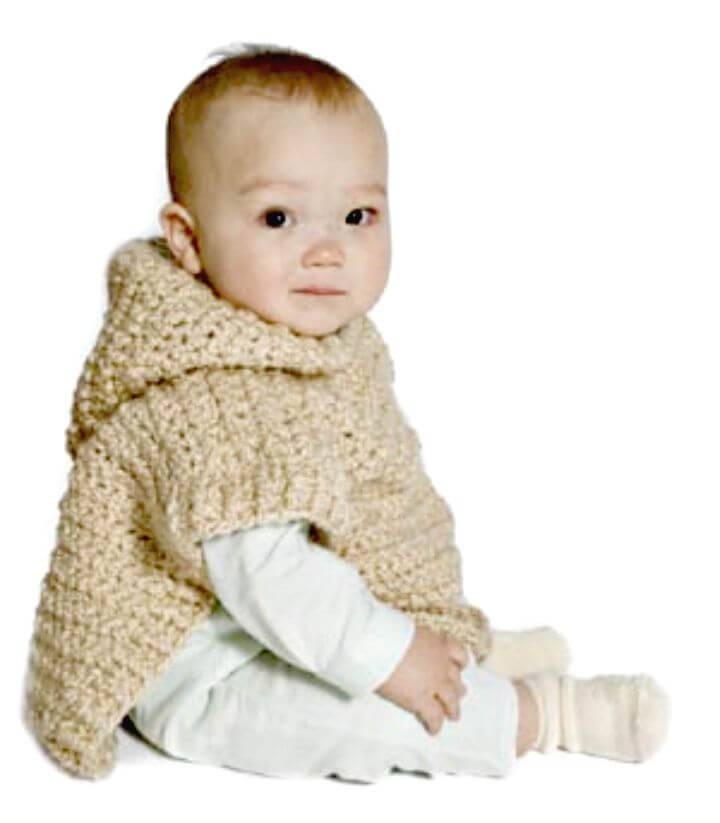 Crochet Wee Hooded Poncho - Free Pattern