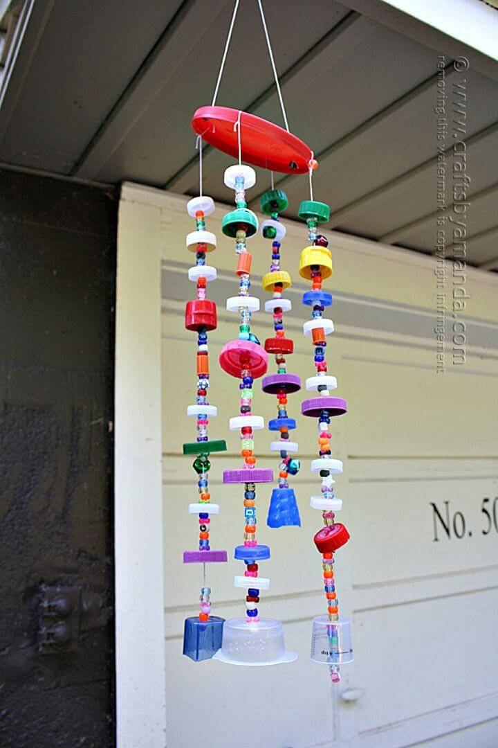 Easy Recycled Plastic Lid Wind Chime Tutorial