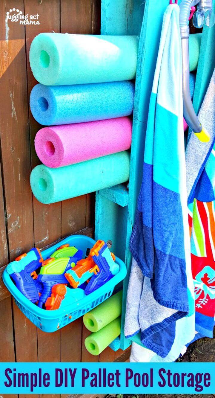 Simple DIY Pallet Pool Storage Makeover