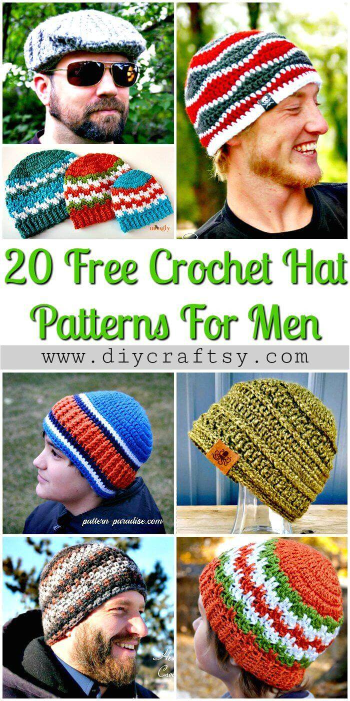 20 Free Crochet Hat Patterns For Men - Free Crochet Patterns - DIY Crafts