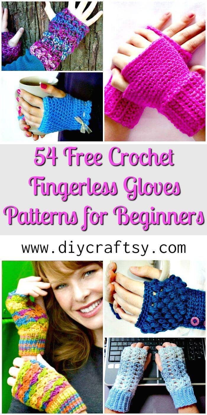 54 Free Crochet Fingerless Gloves Patterns for Beginners - Free Crochet Patterns - DIY Crafts