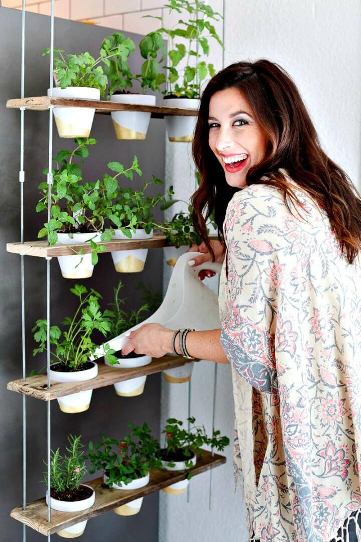 Adorable DIY Custom Potted Hanging Herb Garden