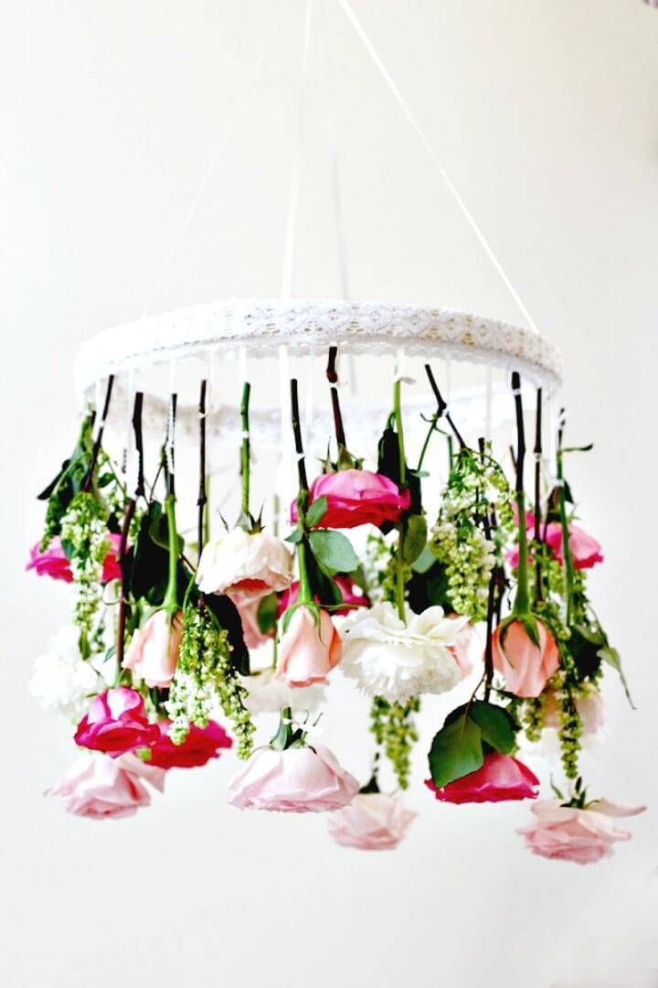 Adorable How to DIY Flower Chandelier - Step by Step Tutorial