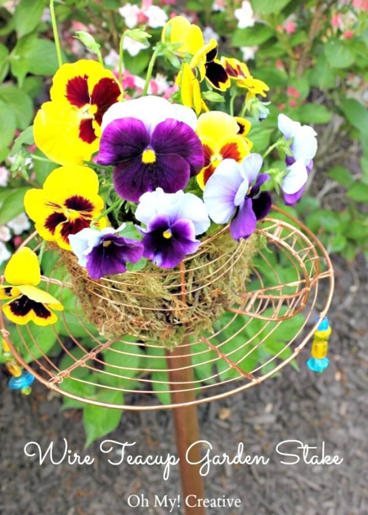 Beautiful Wire Tea Cup Garden Decor - DIY Outdoor Games
